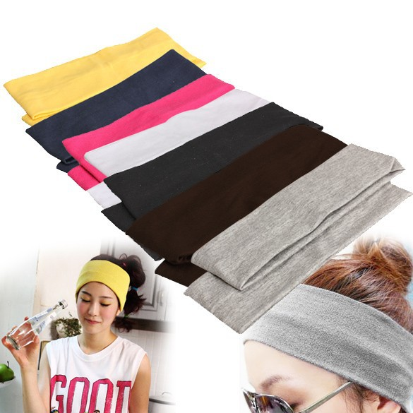 Yoga Hair Bands Sport Elastic Headband 2PCS Sports Yoga Accessory Dance Biker Wide Headband Stretch Ribbon Cotton Hairband H1E1