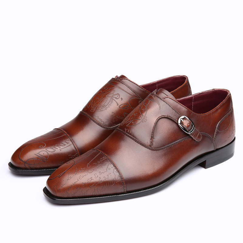 TERSE_5 MOQ Italian calf leather monk shoes handmade genuine leather dress shoes goodyear welted in 2 colors factory price