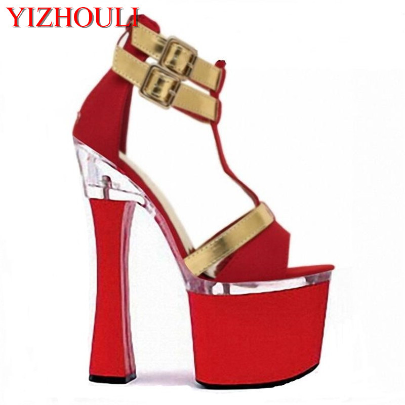 Women fashion shoes 2018sexy 7 inch bottom sandals T-strap style high heel shoes 18cm pole dancing shoes plus size 5-12Women fashion shoes 2018sexy 7 inch bottom sandals T-strap style high heel shoes 18cm pole dancing shoes plus size 5-12