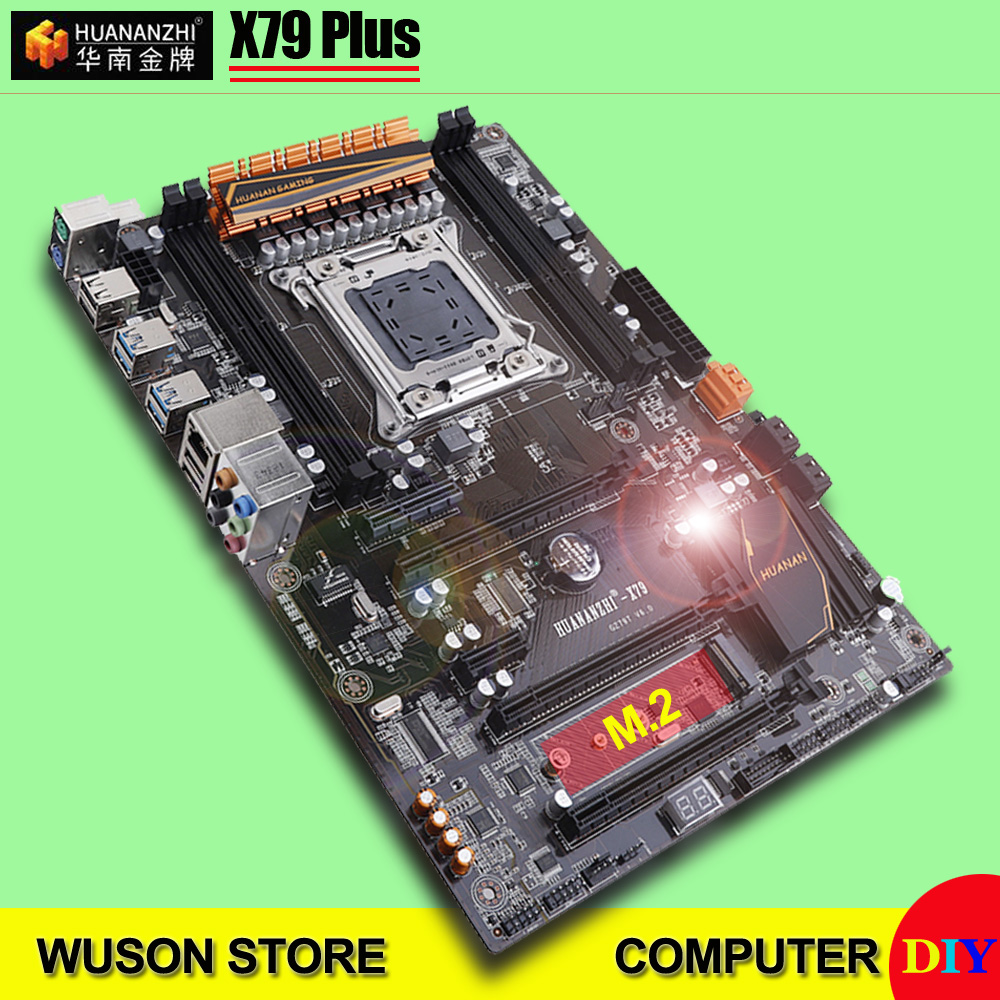 HUANANZHI X79 Plus motherboard with M.2 SSD slot discount motherboard with 2 SATA3.0 ports 3*PCI E x16 slots support 4*16G 1866