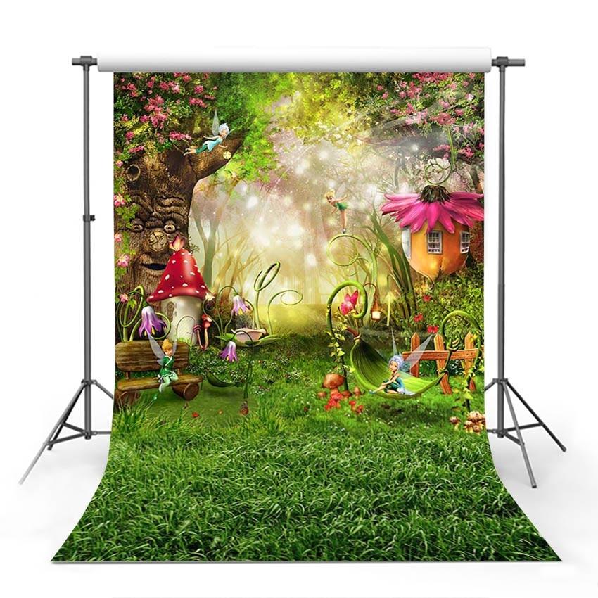 MEHOFOTO Fairy Tale Forest Photography Backdrops Children Backgrounds Photo Studio Mushrooms Elves Flowers Photo Background