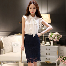 Original New 2016 Brand Shirt Dresses Bow Stand Collar Elegant Vintage Lace Pattern Hollow Chiffon One Piece Dress wholesale