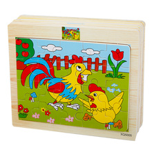 лучшая цена Montessori Wooden learning educational animal Puzzle Toys Kids Early Cartoon Tangram Jigsaw Board Wood Puzzle for Children W267