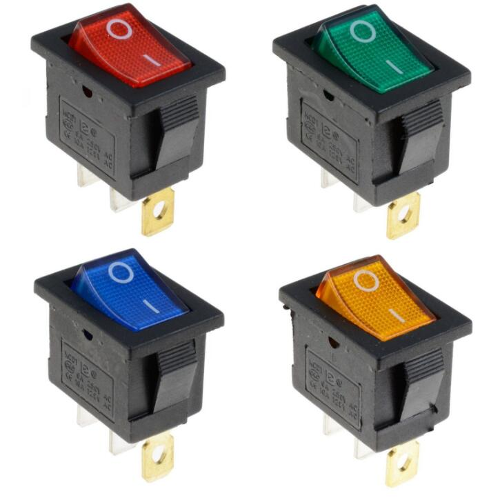 KCD1 On-Off 4Pin Boat Car Rocker Switch 6A/10A 250V/125V AC Red Yellow Green Blue Button Best Price