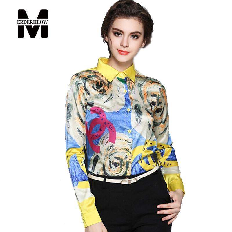 Merderheow nuevo 2017 spring fashion impreso floral mujeres blusa elegante de la