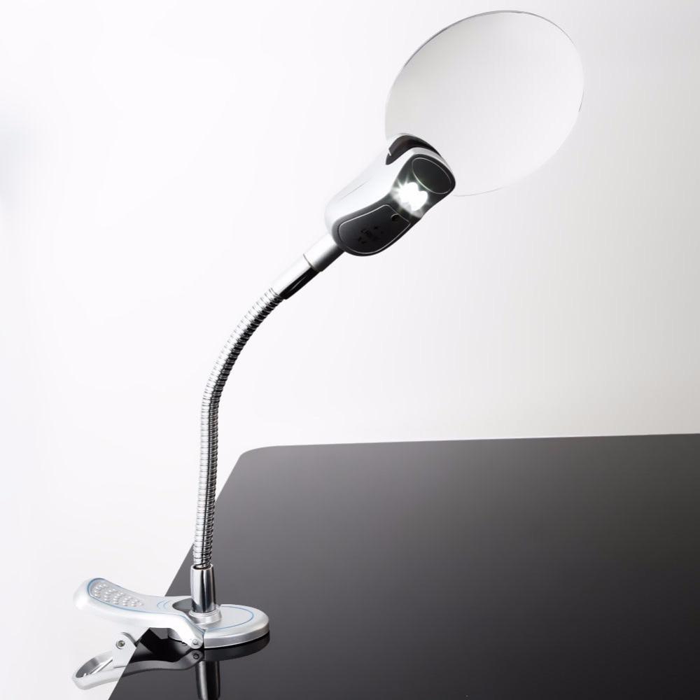 2.5x 90MM 4x 21MM 2 LED Çıraq böyüdücü Klip masa masası - Mebel - Fotoqrafiya 3
