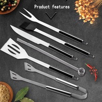 Stainless Steel BBQ Grill Tool Kit Outdoor Barbecue Accessories With Canvas Storage Bag 20Pcs