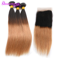 T1B/27 Color Brazilian Hair Bundles With Closure 3/4 Bundles Straight Ombre Bundles With Closure Shuangya Remy Hair Extensions