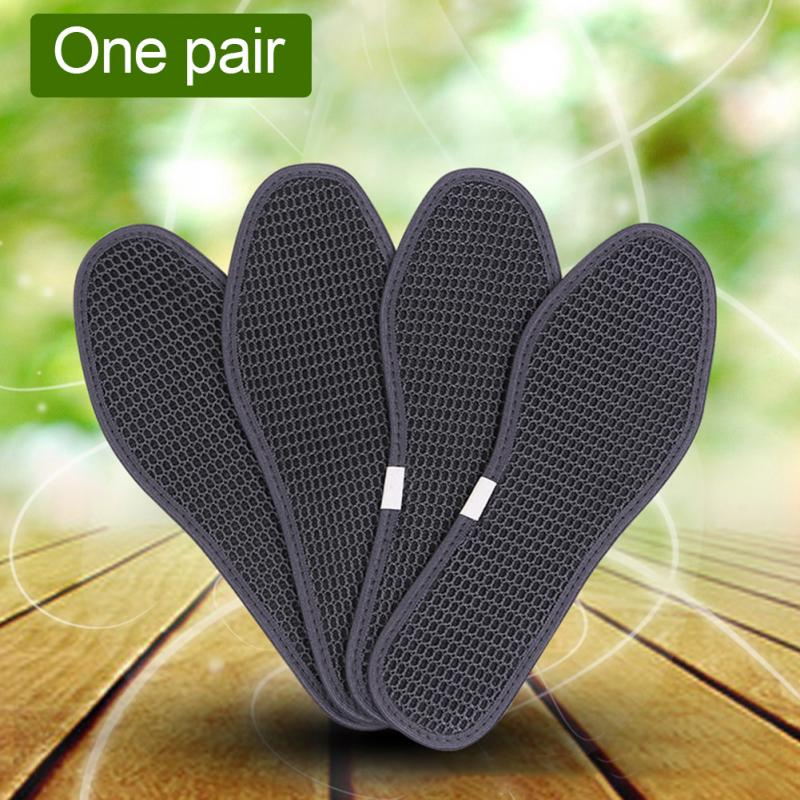1Pair Charcoal Dry Deodorant Antibacterial Breathable Shoe Pads Outdoor Hiking Insoles Soft Bamboo Charcoal Insoles