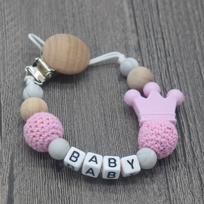 Baby Silicone+Wood Pacifier Clips Cute Crown DIY Pacifier Chain With Mouse Holder Infant Feeding Teething Chew Toys Dummy Clips