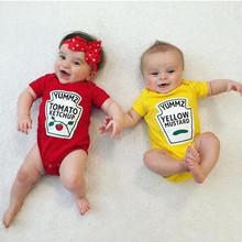 Letnie śpioszki dla niemowląt śliczne chłopięce dziewczęce ubrania z krótkim rękawem czerwone żółte body niemowlęce Unisex dziecięce jednoczęściowe kombinezony DS9 tanie tanio BBURQT COTTON Moda BR00061 Cartoon Pasuje prawda na wymiar weź swój normalny rozmiar Dla dzieci O-neck
