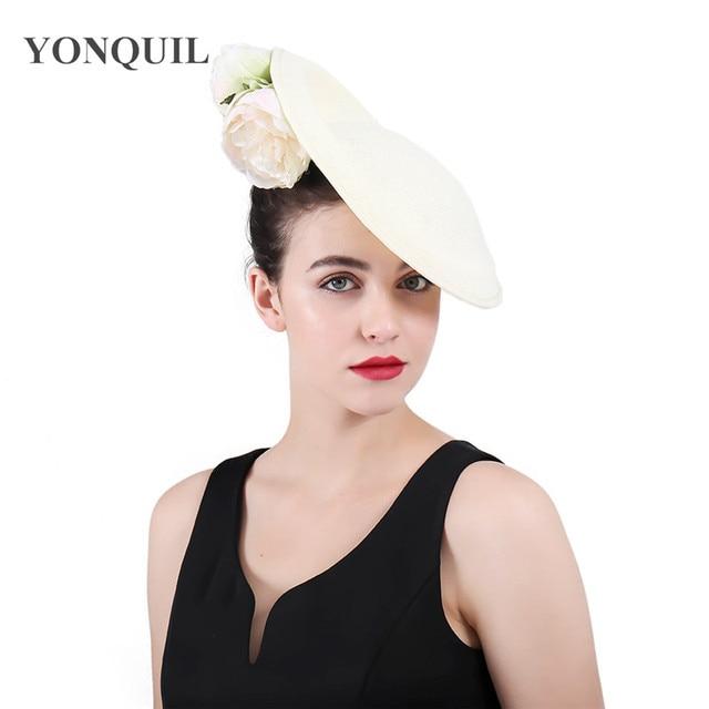 High Quality Copy Sinamay Kenducky Derby Big Hats Flower Fascinators Alice  Band Women Wedding Party Headpiece Hair Clips 2018 4fd0603fa58