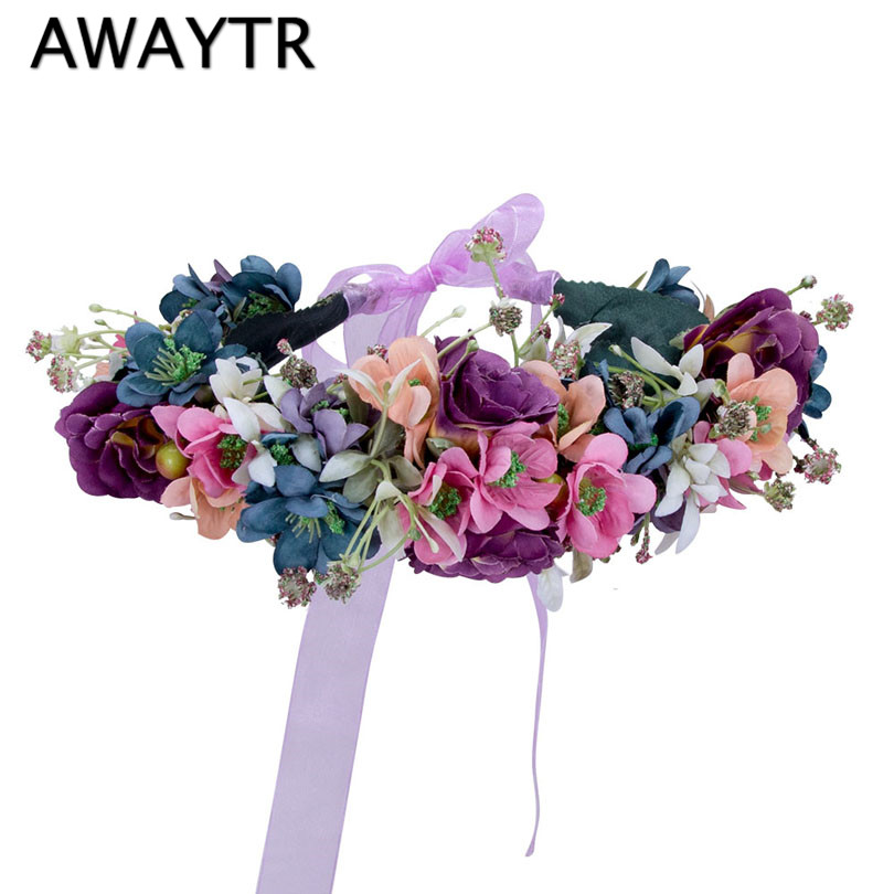 Flower Crown Wedding Handmade Flower Tiaras Fabric Ribbon Flower Crowns Woman Girls Hair Flower Garland Hair Accessories metting joura vintage bohemian green mixed color flower satin cross ethnic fabric elastic turban headband hair accessories