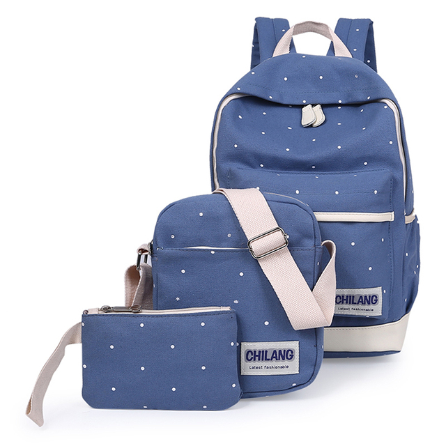 3Pcs Sets Korean Casual Women Backpacks Canvas Book Bags Preppy Style School  Back Bags for fc149ec5daf36