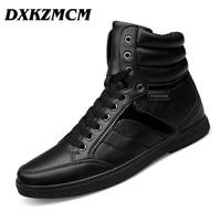 DXKZMCM Genuine Leather Men Boots Warm Winter Snow Men S Boot Lace Up Men Shoes Plus
