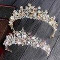 Bride hair jewelry Baroque Handmade Beaded luxury pink Crystal Tiara sweet pricess crown wedding hair accessories wholesale