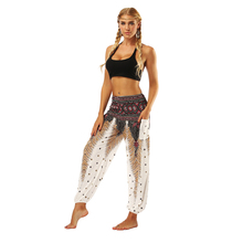 Fashion Womens Harem Pants Digital Printing High Waist Loose Wide Leg Seaside Travel Ladies Casual