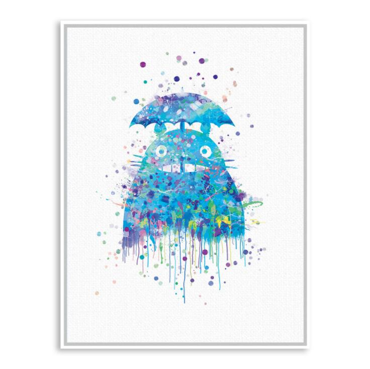Watercolor Miyazaki Japanese Animation Movie Canvas Print Poster Colorful Totoro Wall Picture Kids Room Decor Painting image