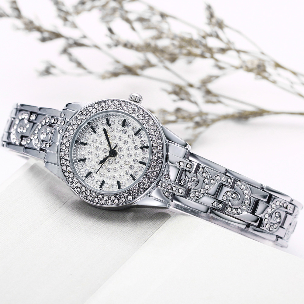 Full Crystals Elegant Ladies Watch Luxury Wrist Bracelet Watches for Women Stones Dial Roman Index Christmas Gift free shipping 3