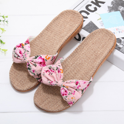 Summer and autumn linen slippers female summer home indoor floral non-slip bathroom cute cool slippers wholesale 2