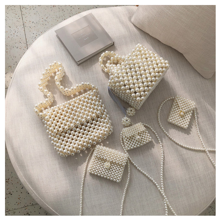 Women Evening Party Handbag Pearl Handmade Beaded Small Tote Bags Luxury Ladies Dress Bags  Mini Bridal Bag Coin Purse Phone Bag