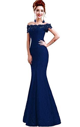 Misshow Русалка вечернее платье Розовое Кружевное длинное вечернее платье Элегантное с открытыми плечами без рукавов robe de Soiree - Цвет: Navy blue