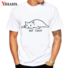 T-Shirt Men Women Letter Cat 3D Print Not Today Funny Graphic Tees Casual White Tee Shirts Unisex Summer Tops Streetwear цена 2017