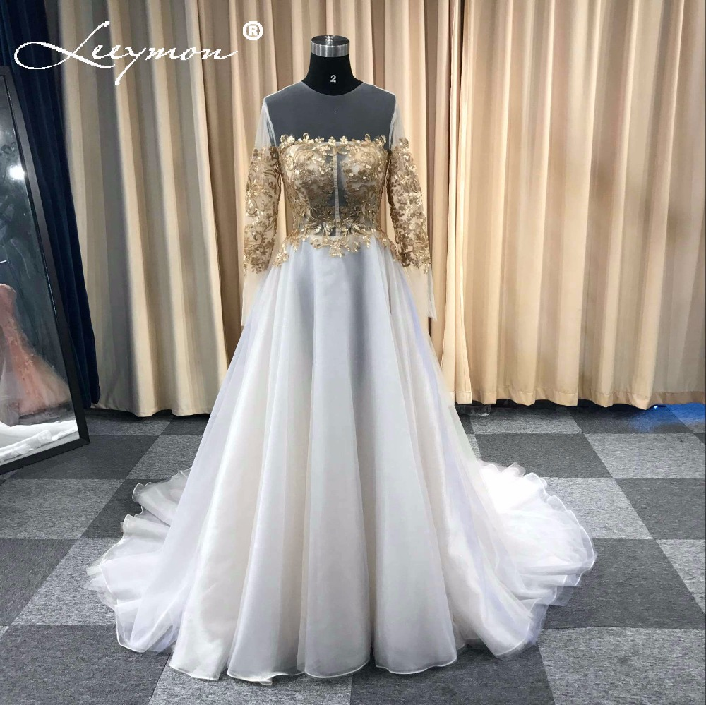 2019 Wedding Dresses With Sleeves: Gold Lace Appliques Wedding Dress Full Sleeves Floor