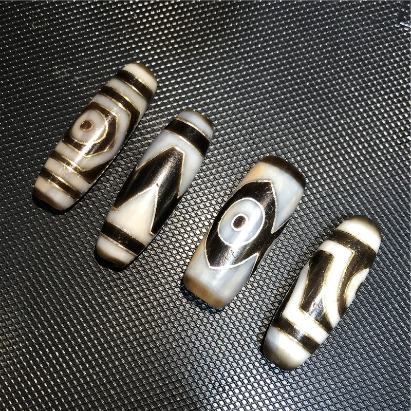 New Arrival Inlay Sliver and Copper Dzi Beads Natural Agate Dzi Ji Beads Powerful Amulet Collectible-in Beads from Jewelry & Accessories    3