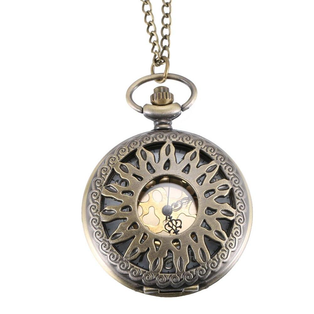 Quartz Pocket Watch Alloy Chain Hollow Out Pattern Flip Cover Vintage Pendant Watches For Men Women LL@17