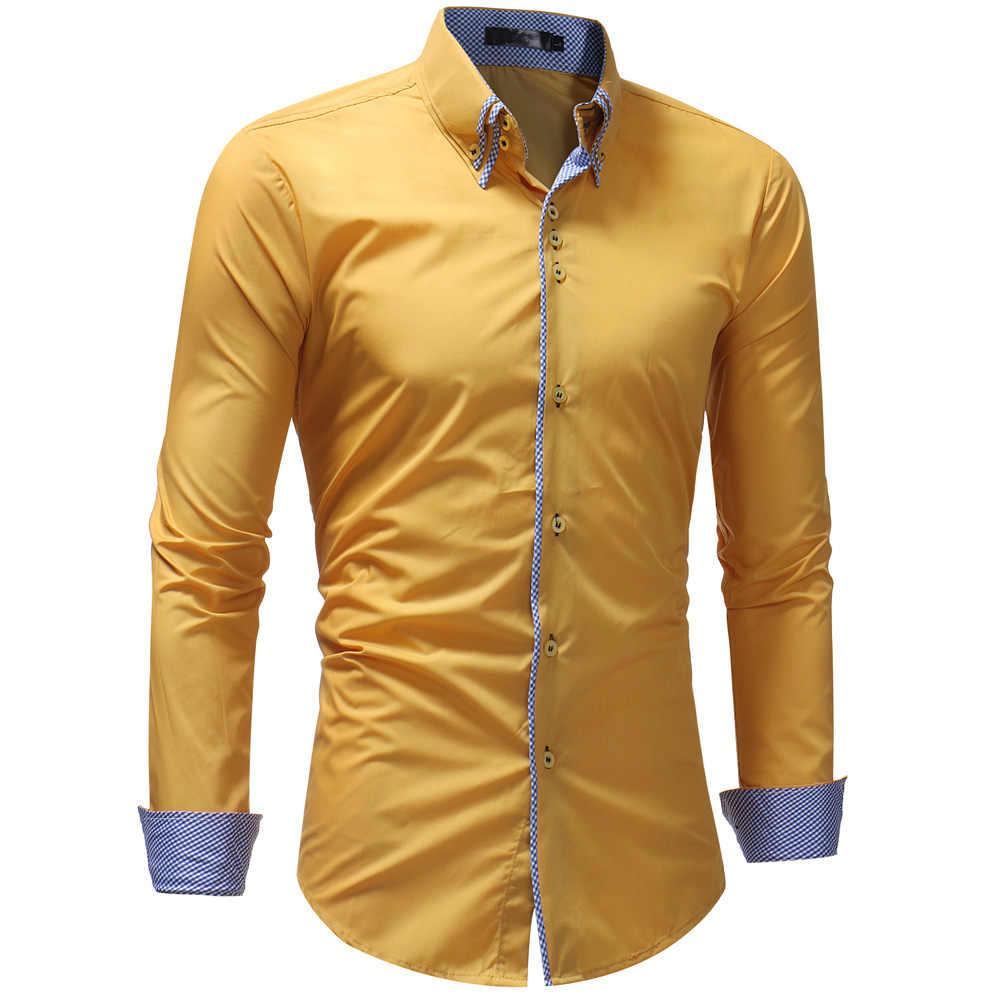 90a6d47318e Мужская рубашка 2018 весна новый бренд бизнес Мужская Slim Fit платье рубашка  мужская с длинным рукавом