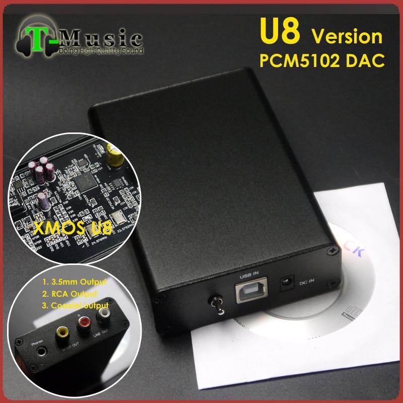 Prix pour TOP PCM5102 XMOS U8 USB DAC T-Musique Hifi Mini DAC Carte Son 384 K 32bit avec Sortie Casque
