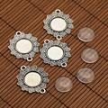 Tibetan Style Alloy Flower Connector Cabochon Bezel Settings and Flat Round Transparent Glass Cabochons, Antique Silver, Tray: