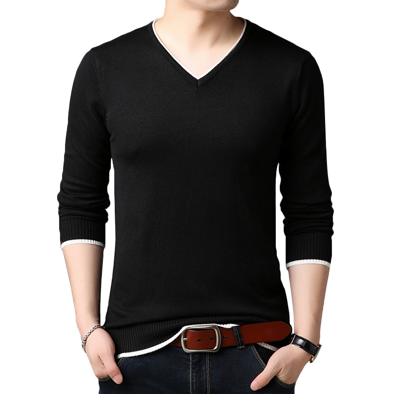 2019 New Cotton Sweater Men Long Sleeve Pullovers Outwear Man V-Neck Sweaters Tops Loose Solid Fit Knitting Clothing 6Colors New