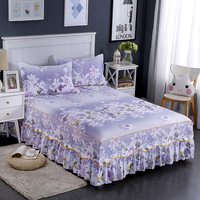 Fashion Purple Prints Pattern Bedding Home Textiles Bedspread Home Cover Bed Furniture Hotel Home 1Pcs Bed Skirt Bed Spread