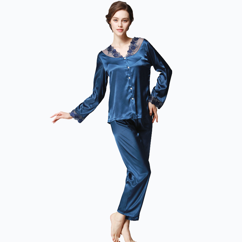 Womens Silk Satin Pajamas Set Pajama Pyjamas Set Women Home Clothing Homewear Sleepwear Loungewear