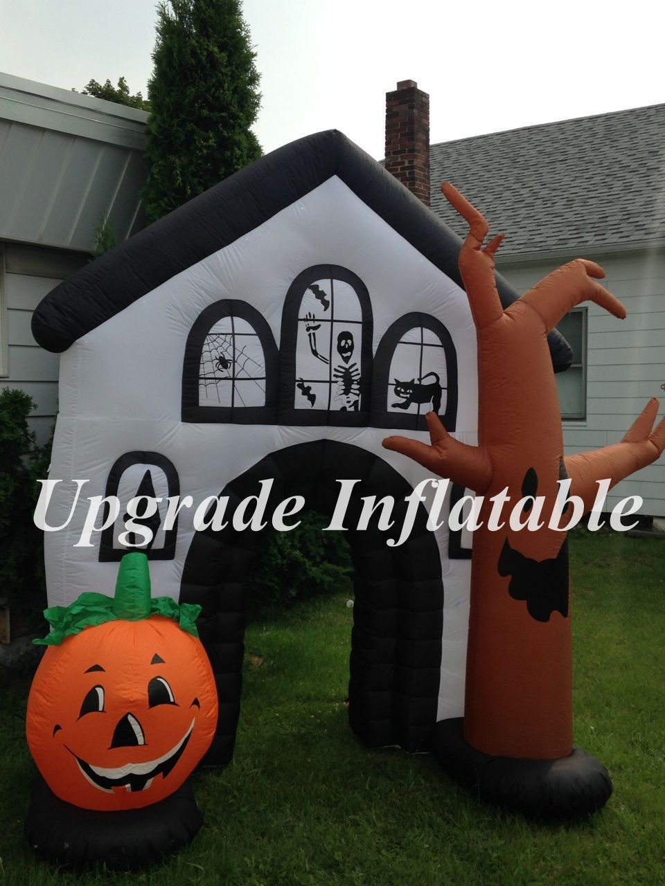 Outdoor inflatable halloween decorations - 9ft Haunted House Inflatable Outdoor Halloween Decorations With Led Lights
