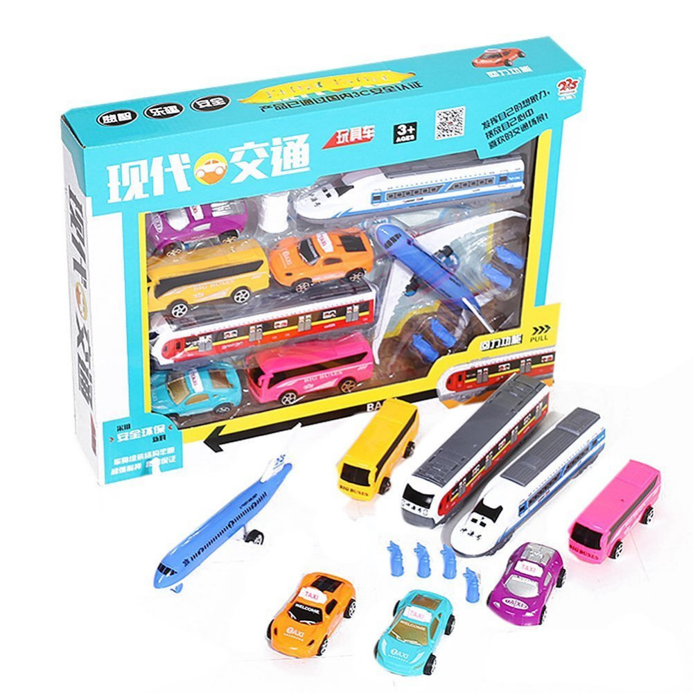8 assorted transportation vehicles toys set taxi car airplane