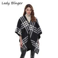 Lady Blinger fashion plaid stole big size winter warm cape women wraps nice large poncho lady shawl and wraps cashmere cape
