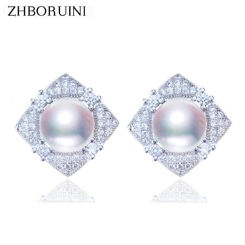 ZHBORUINI 2019 Pearl Earrings 925 Sterling Silver Jewelry For Women Natural Freshwater Pearl Jewelry Square Stud Earrings Gift
