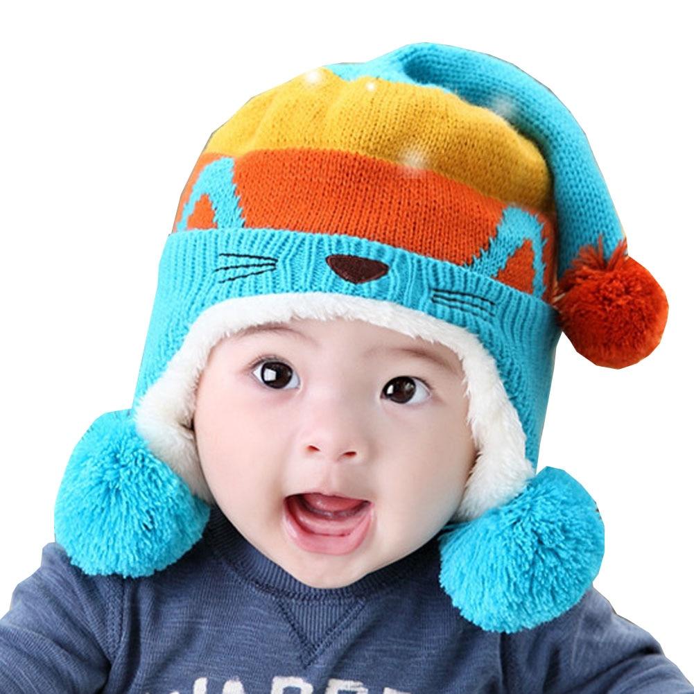 Cute Baby Winter Hat Warm Infant Beanie Cap For Children Boys Girls Animal Cat Ear Kids Crochet Knitted Hat