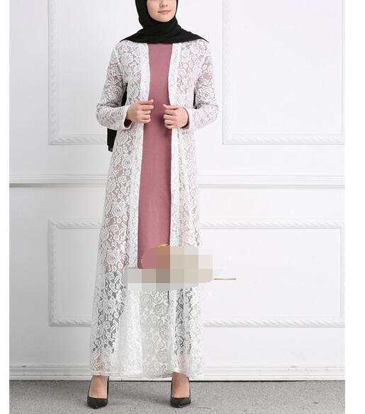 1 Stks/partij Mode Vrouw Kant Moslim Lange Abaya Vrouwelijke Toevallige Vest Kant Abaya Arabische Dames Maleisië Abaya Moslim Gewaden Wil Je Wat Chinese Inheemse Producten Kopen?