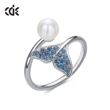 CDE 100% 925 Sterling Silver & Pearl Mermaid Tail Open Rings for Women Embellished with crystals Jewelry