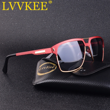 LVVKEE 2019 High Quality Red HD Polarized Sunglasses Men/Women Half Frame Driving Sun Glasses For Man Shades Eyewear With Case