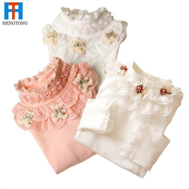 3-12 T Primavera Outono Crianças Camisola Menina Moda Crianças Rendas Camisola de Algodão Cardigan Bebê Outerwear Meninas Roupas de Malha