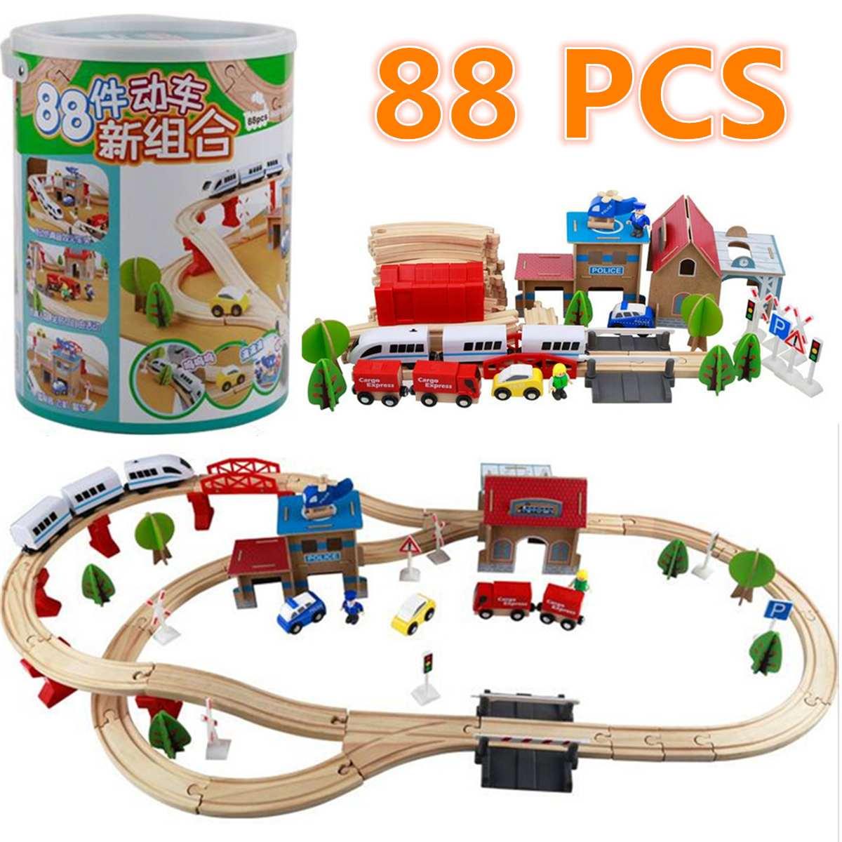 Jeu de rails de Train en bois enfants en bois Puzzle de chemin de fer fente de Transit voies ferrées Train de Transit jouets de chemin de fer pour le cadeau des enfants bricolage