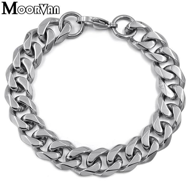 Moorvan Jewelry Men Bracelet Cuban links & chains Stainless Steel Bracelet for Bangle Male Accessory Wholesale B284 36