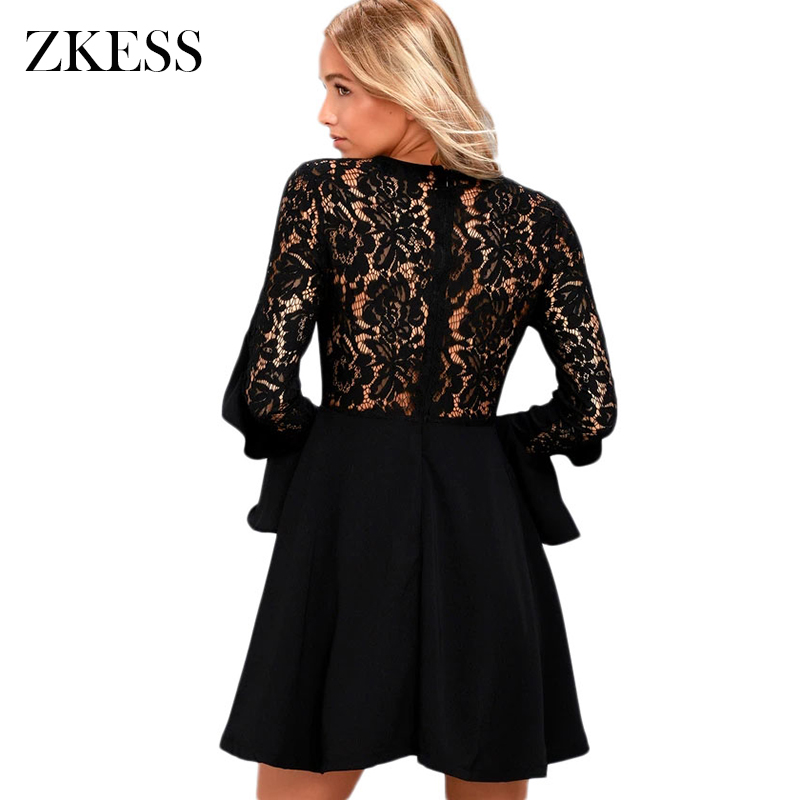 e82b1d0361 ZKESS Women Black Long Flare Sleeved Skater Dress Winter New O Neck Sexy Sheer  Lace Back Patchwork Mini Dresses Zipper LC220164