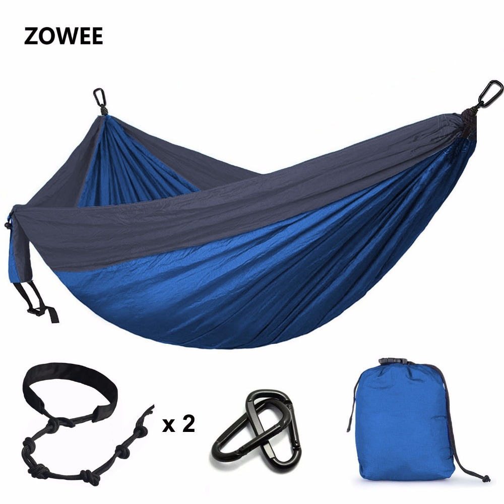 118inches X 79inches Parachute Hammock  Camping Survival Double Person Parachute Outdoor Furniture With Tree Friendly Belt