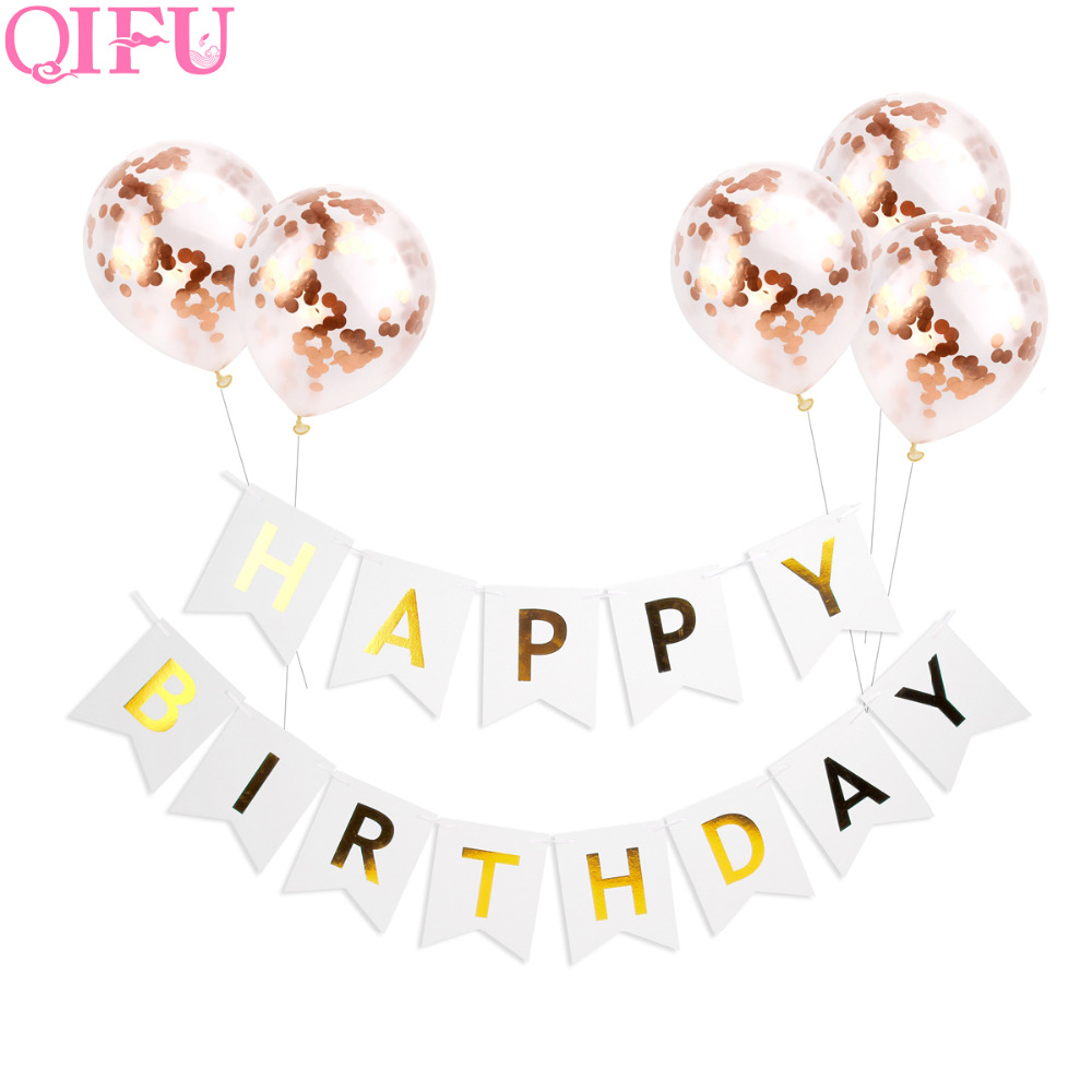 QIFU Rose Gold Confetti Ballonnen Birthday Party Decorations Kids - Feestversiering en feestartikelen